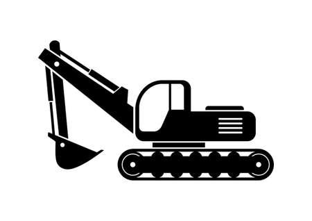 Excavator vector icon on white background