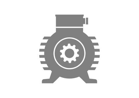 motor: Grey electric motor on white background Illustration