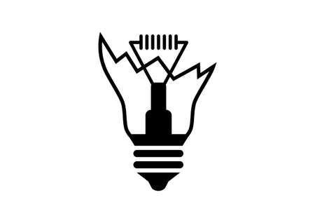 broken: Broken lightbulb icon on white background