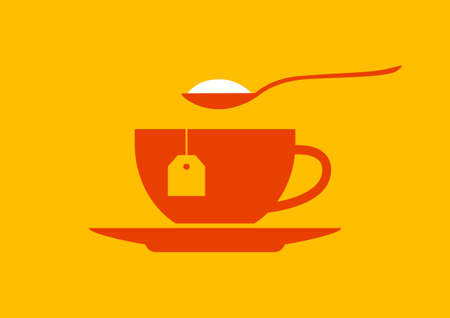 spoon: Tea cup icon on orange background