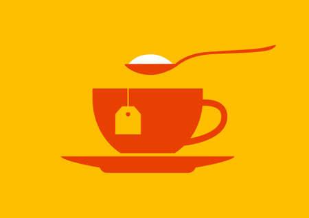 teacup: Tea cup icon on orange background