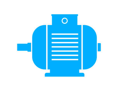 electric blue: Blue electric motor icon on white background