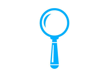 magnification: Blue magnifier icon on white background