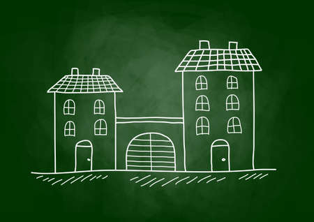 architectural studies: House drawing on blackboard