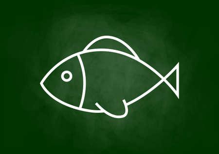 fish drawing: Fish drawing on blackboard