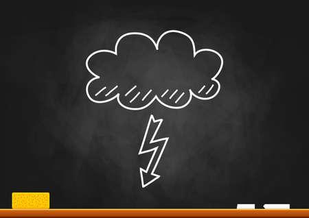 storm cloud: Weather drawing on blackboard Illustration
