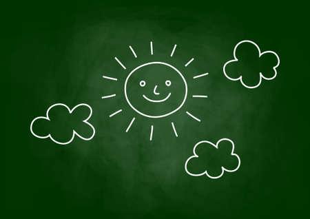 Sun drawing on blackboard