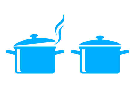 steam cooker: Blue cooker icons on white background Illustration