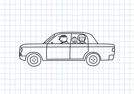 squared paper: Car drawing on squared paper Illustration