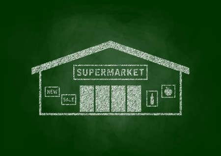 architectural studies: Supermarket drawing on blackboard