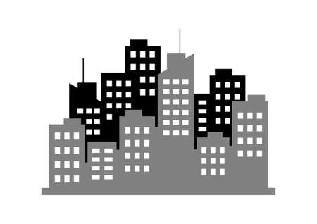 city icon: City icon on white background Illustration