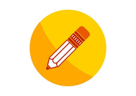 sharpen: Round pencil icon on white background Illustration