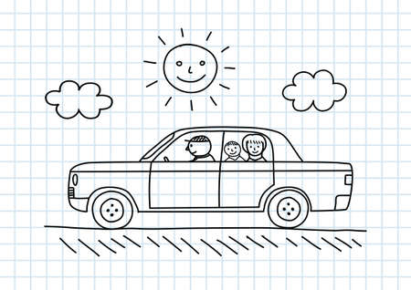Car Zeichnung auf kariertem Papier Vektorgrafik