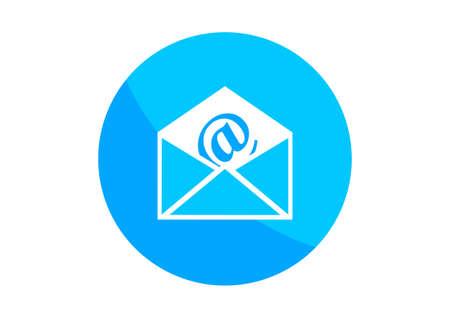 e mailing: Round envelope icon on white background