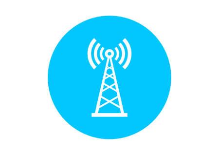 transmitter: Round transmitter icon on white background