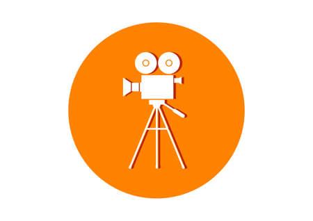 camara de cine: Ronda icono de la c�mara de la pel�cula en el fondo blanco Vectores