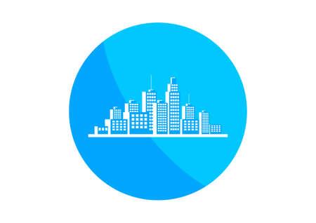city background: Round city icon on white background Illustration