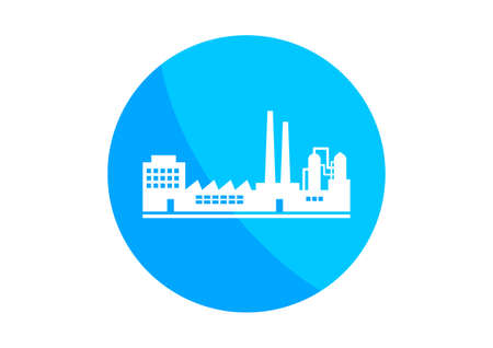 petrochemical plant: Round factory icon on white background