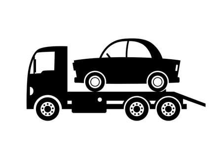 tow: Black tow truck icon on white background