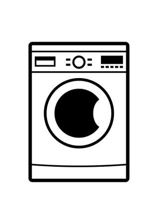 Machine à laver icône sur fond blanc