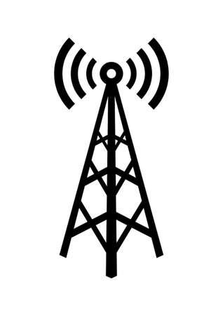 Negro icono transmisor en el fondo blanco