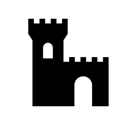 black wall: Black castle icon on white background Illustration