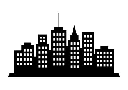 city icon: Black city icon on white background