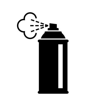Black spray can icon on white background Ilustração