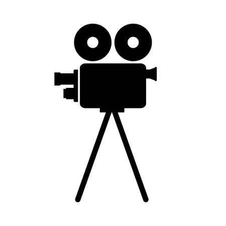 movie camera: Black movie camera on white background