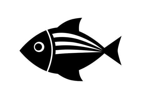 black and white: Black fish icon on white background Illustration