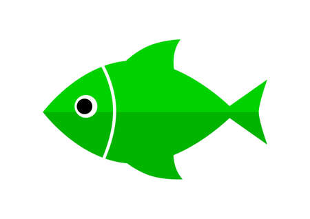green fish: Green fish icon on white background