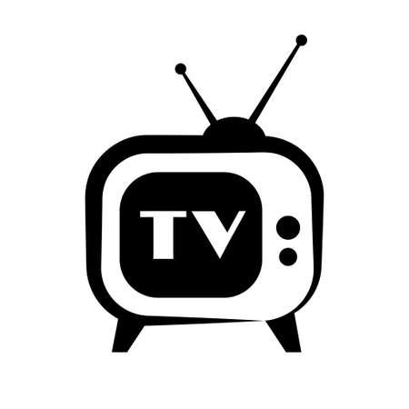retro tv: Retro TV icon on white background Illustration