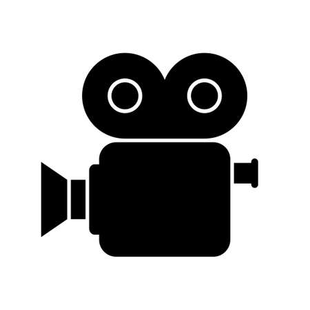 movie camera: Black movie camera on white background, isolated vector icon Illustration