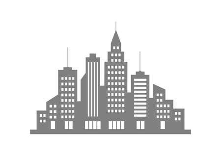 city background: Grey city vector icon on white background Illustration