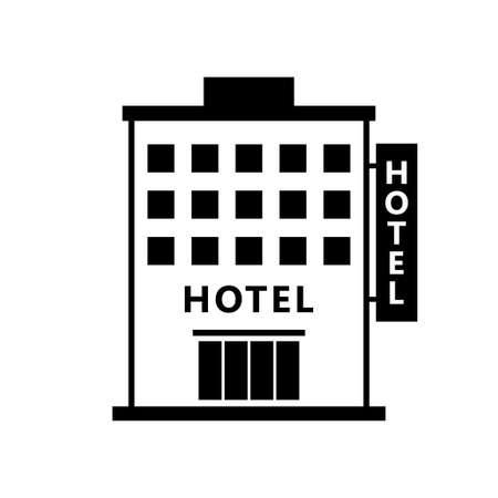 白い背景の上ホテル ベクトル アイコン