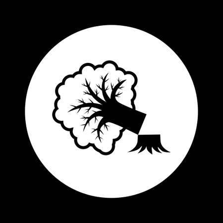 forestry: Black and white tree icon