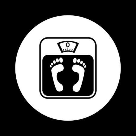 bathroom scale: Black and white bathroom scale icon
