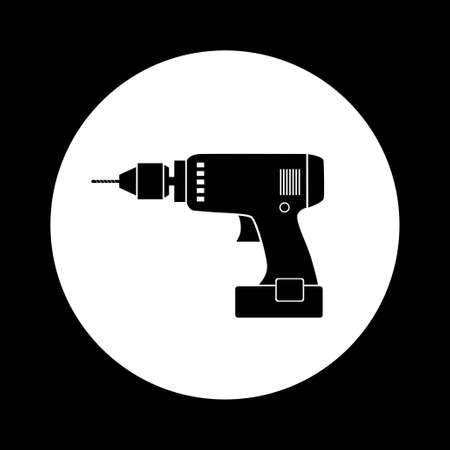 cordless: Black and white drill icon
