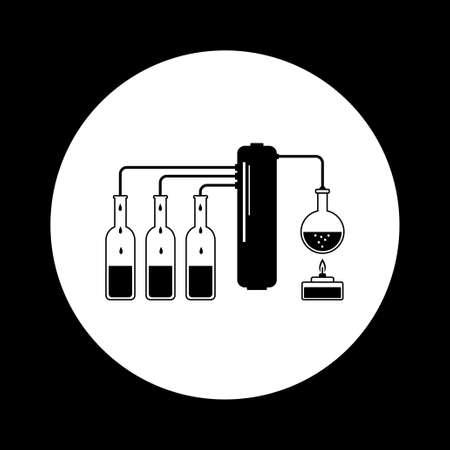 destilacion: kit de destilación blanco y negro Vectores