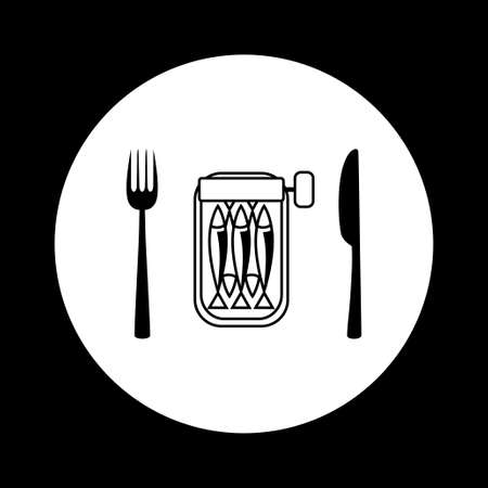 conserved: Black and white sardines icon