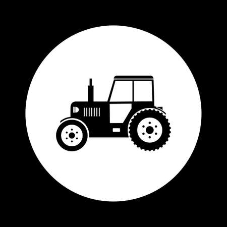black and white: Black and white tractor icon Illustration
