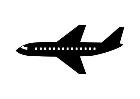 Black aircraft icon on white background