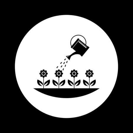 wateringcan: Black and white garden icon