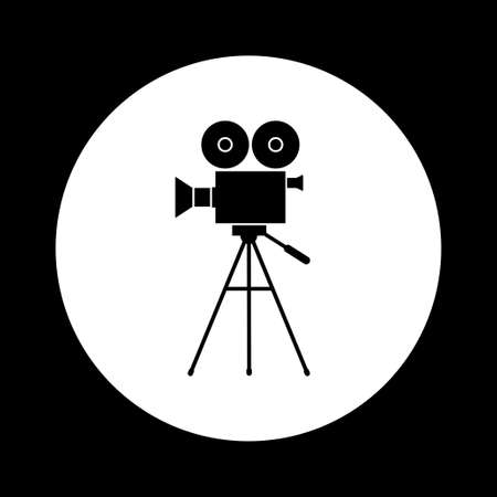 movie camera: Black and white movie camera icon