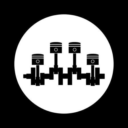 crankshaft: Black and white car pistons