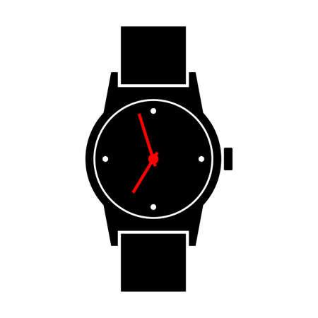 analog dial: Wristwatch icon on white background Illustration