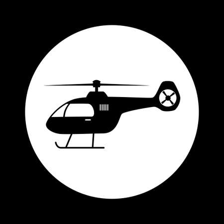black and white: Black and white helicopter icon Illustration