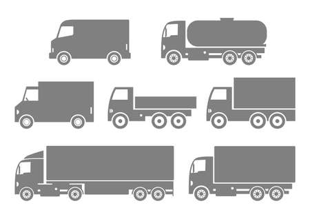 camion: Grey truck icons on white background