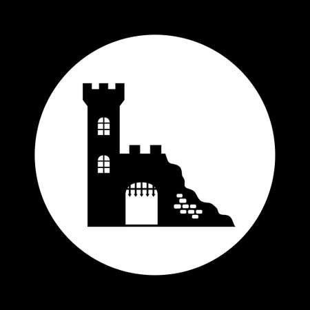 fortification: Black and white castle ruins