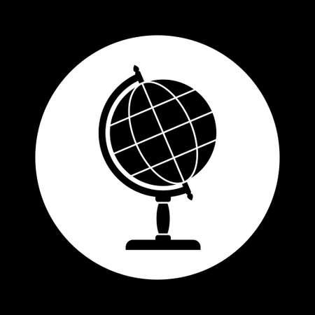 black and white: Black and white globe icon Illustration